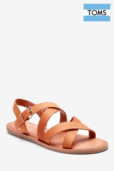 TOMS Sicily Tan Strap Crossover Leather Sandal