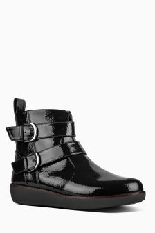FitFlop™ Black Double Buckle Lola Ankle Boot