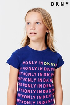 DKNY Blue Script T-Shirt With Slogan Print