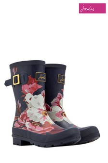 Joules Navy Floral Molly Mid Height Welly