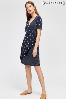 Warehouse Blue Buttercup Ditsy Wrap Dress