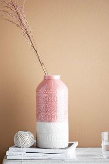 אגרטל בדוגמה גאומטרית בצבע ורוד