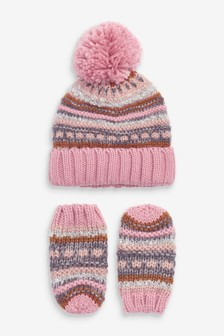 2 Piece Set Hat And Mitts (Younger)