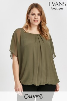 Evans Black And Khaki Bubble Top