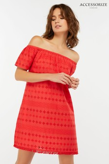 Accessorize Red Off Shoulder Schiffli Dress