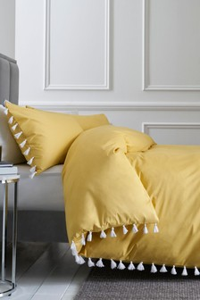 Tassels Trim Duvet Cover and Pillowcase Set