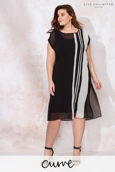 Live Unlimited Black Mono Chiffon Stripe Dress