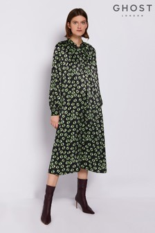 Ghost London Black Printed Hazel Long Sleeve Satin Dress