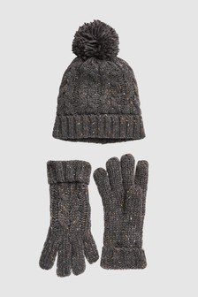 Cable Knit Hat And Gloves Two Piece Set (Older)