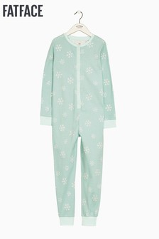 FatFace Blue Snowflake Jersey All-In-One