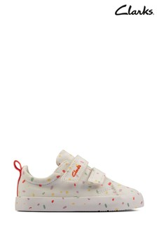 Clarks Off White Foxing Print T Canvas Shoes