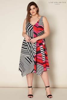 Live Unlimited Abstract Print Hanky Hem Swing Dress