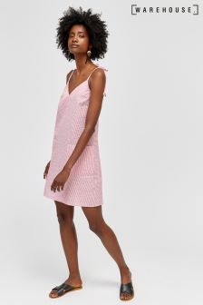 Warehouse Pink Seersucker Cami Dress
