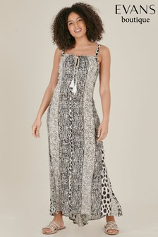 Evans Multi Dark Curve Monochrome Print Tassel Maxi Dress