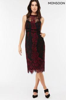 Monsoon Berry Charvi Lace Shift Dress