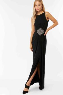 Monsoon Black Sandra Embellished Maxi Dress
