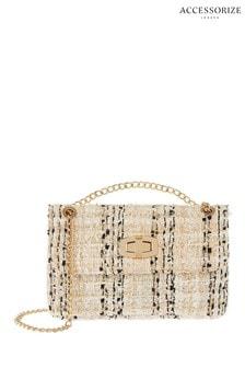 Accessorize Natural Mini Tweed Ayda Bag
