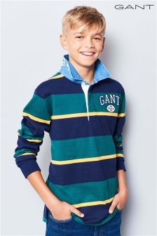 GANT Teen Green Collegiate Striped Heavy Rugger T-Shirt