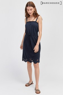 Warehouse Blue Cut Work Cami Dress