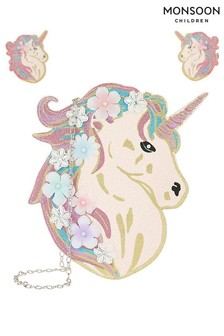 Monsoon White Celeste Glitter Unicorn Bag & Hair Set