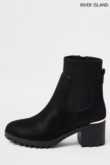 River Island Black Knit Clumpy Heeled Boots