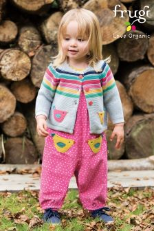 Frugi Pink Maple Spot Bird Cord Dungaree