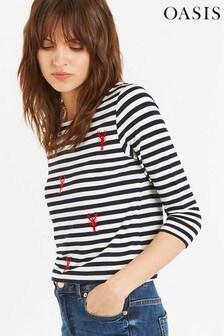 Oasis Blue Stripe & Lobster Boatneck Top