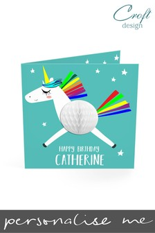 Personalised Flying Unicorn Birthday Single Card by Croft Designs