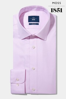 Moss 1851 Tailored Pink Egyptian Cotton Textured Shirt