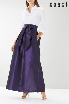 Coast Purple Tilly Tie Detail Skirt