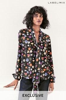 Mix/Natasha Zinko Floral Print Tie Neck Top