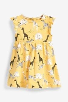 Трикотажное платье с оборками на рукавах (0 мес. - 2 лет)