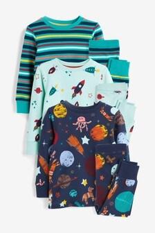 3 Pack Space Snuggle Pyjamas (9mths-10yrs)