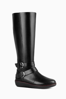 FitFlop™ Black Double Buckle Nina Knee High Boot