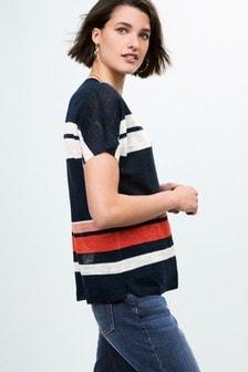 Linen Blend V-Neck T-Shirt
