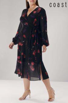 Coast Black Curve Nyla Printed Wrap Dress