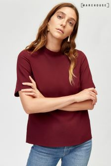 Warehouse Red High Neck Wrap Back Tee
