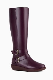 FitFlop™ Burgundy Double Buckle Nina Knee High Boot