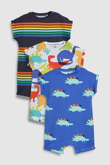 Bright Dinosaur Rompers Three Pack (0mths-2yrs)