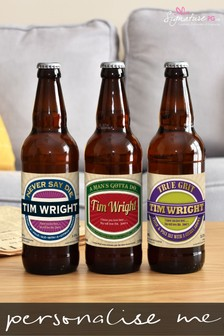 Personalised Man's Virtues Set Of 3 Beers by Signature Gifts
