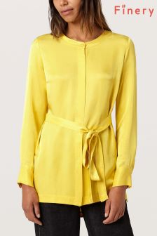 Finery Sunglow Yellow Wilda Tie Back Blouse