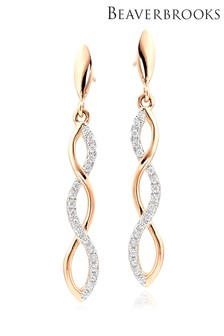 Beaverbrooks Silver Rose Gold Plated Cubic Zirconia Drop Earrings