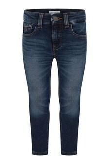 Boys Blue Cotton Skinny Fit Jeans