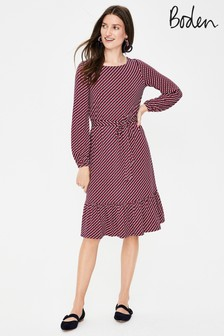 Boden Red Holly Jersey Dress
