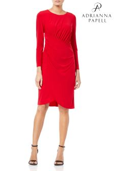 Adrianna Papell Scalloped Striped A-Line Dress
