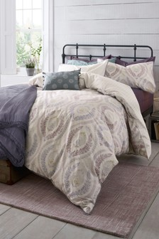 Ogee Cotton Slub Duvet Cover and Pillowcase Set
