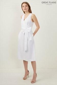 Great Plains White Hampton Cotton V-Neck Dress