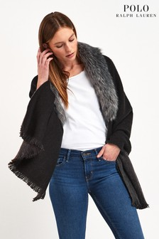Lauren Ralph Lauren® Black Faux Fur Trim Poncho