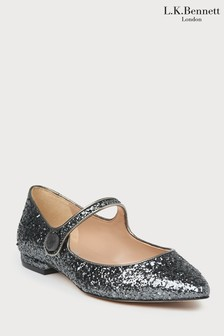 L.K.Bennett Grey Mary Jane Flat