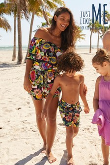Matching Family Womens Multi Fruit Print Frill Playsuit